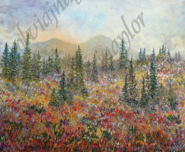 dusk on the mountain slopes